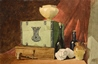 Still-Life of Boxes, Bottles, Jars and a Gavel -