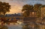 A Boat on a River in an Arcadian Landscape -