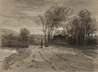 A Figure and Dog on a Track near a Lake -