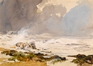 A rocky Shoreline with a rough Sea -